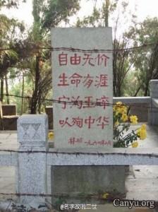 林昭坟墓位于苏州灵岩山韩世忠墓附近,走过韩王庙一二百米,再右拐上山。林昭坟墓被铁丝圈禁,还安装了摄像头。