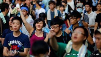 """参加""""占中""""行动的香港青年(2014年9月29日)"""