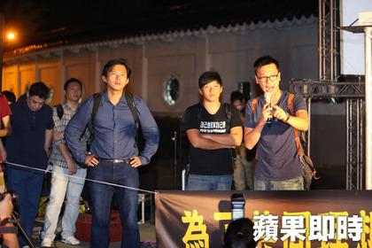 林飛帆陳威廷黃國昌挺香港民主。胡瑞麒攝