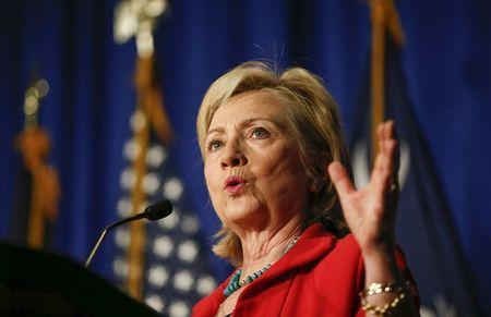 U.S. Democratic presidential candidate Hillary Clinton speaks during a campaign event in West Columbia