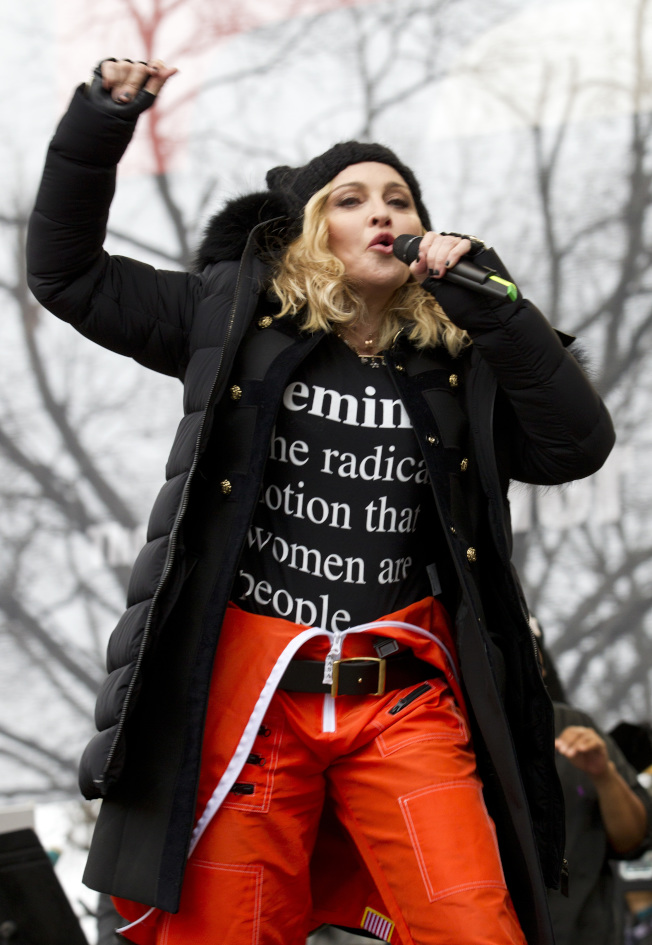 Madonna performs during the Women's March on Washington, Saturday, Jan. 21, 2017, in Washington. (AP Photo/Jose Luis Magana)