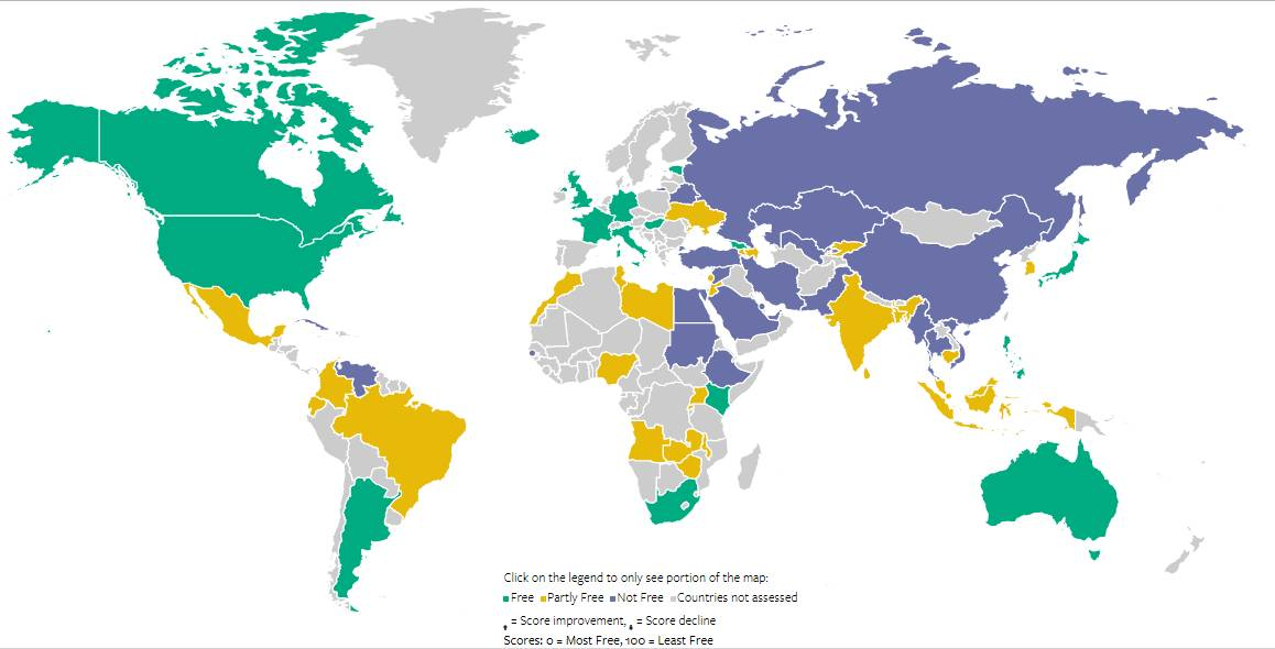 绿色=自由;黄色=部分自由;紫色=不自由;灰色=无数据