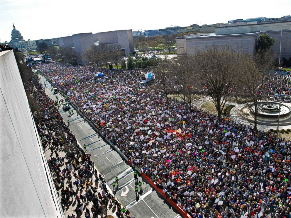 Demonstrators fill Pennsylvania Avenue, as seen from the Newseum, during the March for Our Lives rally in support of gun control in Washington D.C., March 24, 2018.