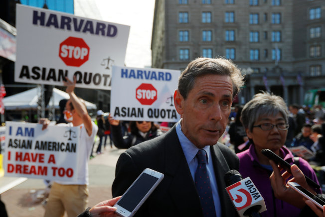 "Affirmative action activist Edward Blum, founder of Students for Fair Admissions (SFFA), speaks to reporters at the ""Rally for the American Dream - Equal Education Rights for All"", ahead of the start of the trial in a lawsuit accusing Harvard University of discriminating against Asian-American applicants, in Boston, Massachusetts, U.S., October 14, 2018.   REUTERS/Brian Snyder"
